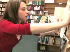 Bitch gets humiliated in public library getting filled with toys and fucked