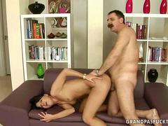 Grandpa fucking with young brunette