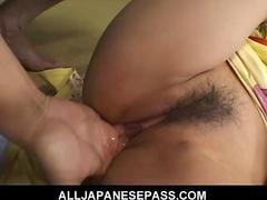 Horny mature japanese cougar in a kimono rides a hard dick feature 2
