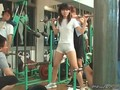 Horny public gym workout with a see