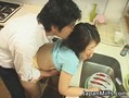 Amazing Japanese MILF gets fucked in her kitchen
