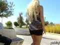 Huge juggs amateur blondie flashes and ripped in a public place