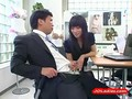Office Lady Giving Blowjob For Guy Cum To Mouth Spitting To Palm At The Desk In The Office