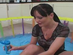 Donna Marie plays with lube and dildos