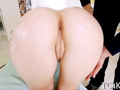 Big ass chicks plump pussy screwed doggy style after oil play