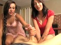 Mother and daughter make dad cum