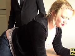 British BDSM slut spanked and dominated
