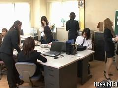 Japanese office ladies get naked and get fucked in massive gang bang