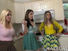 College girls clean up sorority house naked and get toyed