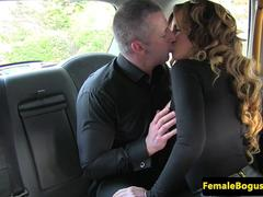 Busty taxidriver babe licked out and fucked