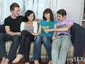 Two teen couples from Russian slowly start a foursome