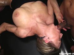 Nasty Granny Gilf gets gangbanged with creampies