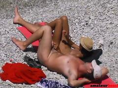 Nudist voyeur wife giving handjob on beach