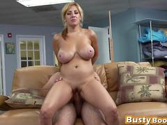 Blonde cleaning lady sucks and rides rod on couch
