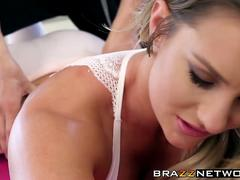 Oily Cali Carter bangs with her hung personal yoga trainer