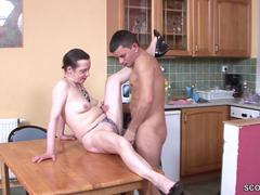 Young guy losing his virginity with a granny