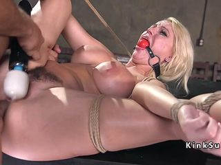 wild blonde porn queen gets tied up and fucked in the dungeon
