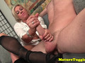 Heeled mature in stockings jerking pov cock