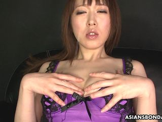 asian slut strips sexy lingerie during slippery masturbation session