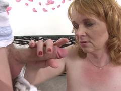 Big titted old maid sucks and fucks a younger man