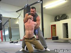 Spex bdsm sub restrained and used as punchbag