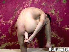 British twink toys asshole while tugging solo