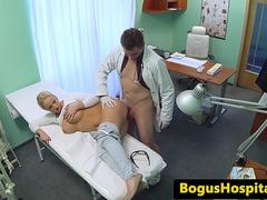 Busty amateur pounded by horny doctor