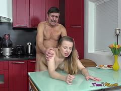 Teen Angel Gets Bent Over And Fucked By Old Man
