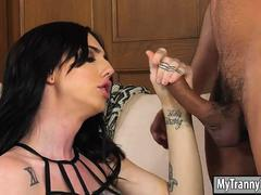 Sexy trans girl Annabelle Rae analyzed by her neighbor