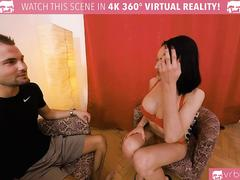 TS VR Porn-Busty TS Kimber Lee Anal fucking with Red Lingerie