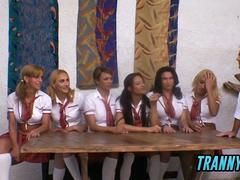 Lets learn some anal biology with shemale schoolgirls