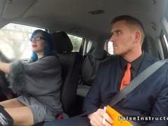 Alt driving student anal bangs in boots