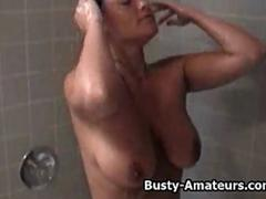 Busty amateur Leslie getting naughty on the shower
