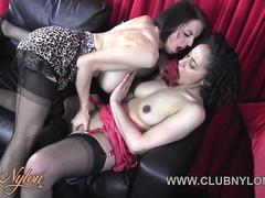 Horny lesbian Milfs lick big tits and juicy pussy and wank in nylons and sexy lingerie