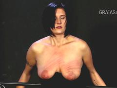 Big tits and cunt beaten with cane