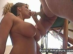 Busty amateur Tera sucking cock like a pro