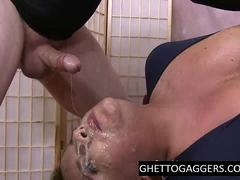 Face fucking her to a slurp mess