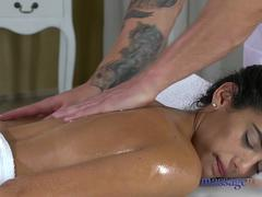 Massage Rooms Spanish tattooed babe gets orgasmic pussy licking and fucking