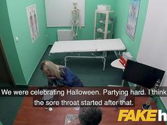 Fake Hospital Deepthroat and deep pussy fucking cures petite blonde Czech