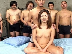 Impeccable Japanese chick in steamy group sex