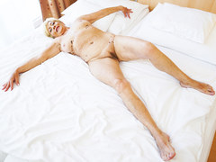 Older lady really knows how to swallow that stiff cock and get it between her sexy legs in different poses from this stud