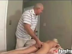 Old Man Massaging Teen!