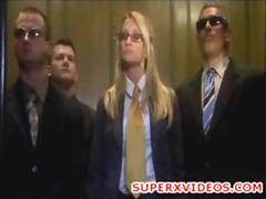 Jessica Drake with three lucky guys in elevator