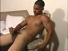 Hot bilatino show off his hot rock body then strokes his dick
