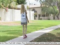 In a park a teenager who likes to undress in nature video