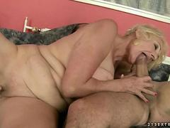 Horny granny with saggy boobs fucking with her trainer