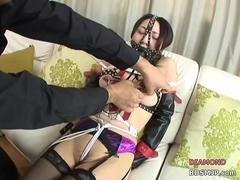 harness bondage and extreme mouth gag oral
