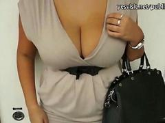 Huge busted amateur Czech chick gets convinced into public sex