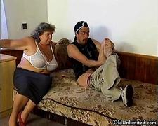 Horny granny loves sucking some fat dick