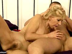Granny has hard sex with her young lover